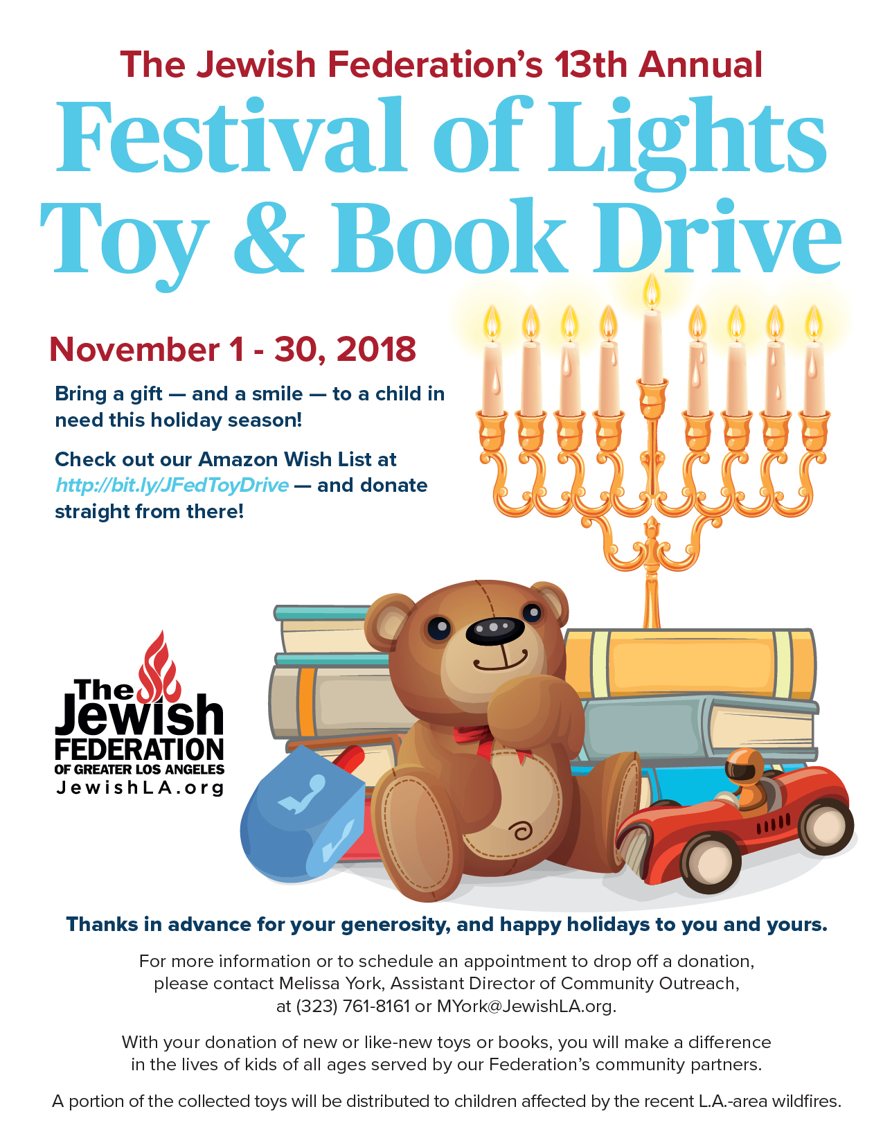The Jewish Federation of Greater Los Angeles is holding a toy and book  drive this month. Check out their Amazon Wish List at  http   bit.ly JFedToyDrive and ... 76150cc508ad7